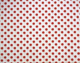 Small red dots, on off-white,  fat quarter, pure cotton fabric