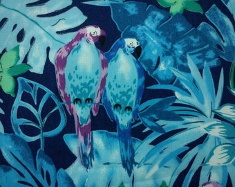 Tropical bird, blue, fat quarter, pure cotton fabric