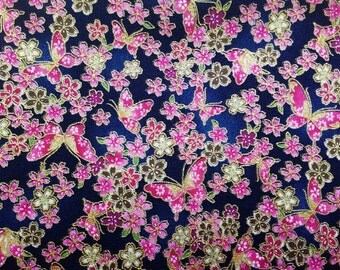 Butterfly and Japanese cherry blossom, navy blue, gold metallic, 1/2 yard, pure cotton fabric
