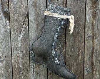 Primitive Witches Boot Stocking Hanger Halloween Decor