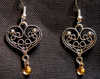 Else - Antique Silver Plated Filigree Heart Traditional Norwegian Solje Style Earrings with gold drops