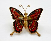 Vintage gold orange, blue green and red sparkle butterfly brooch retro antique butterfly jewelry
