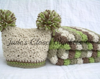 Baby Gift Set, Crochet Baby Travel Blanket and Pom Pom Hat Gift Set, Earthy Colors, off white, tan, brown, and green