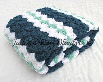 Crochet Baby Blanket, Baby Blanket, Crochet Blue Baby Blanket, blue, white, and mint green, crib size