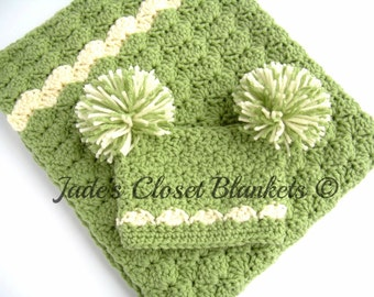Baby Shower Gift Set, Crochet Baby Travel Blanket and Hat Gift Set, Sweet Pea Green