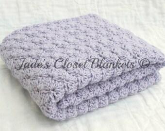 Crochet Baby Blanket, Baby Blanket, Crochet Purple Baby Blanket, Lilac, light purple, crib size