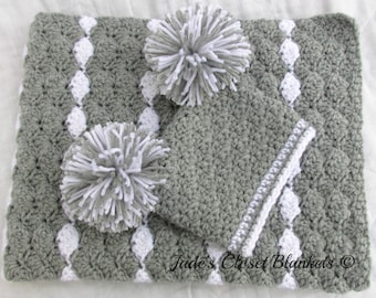 Baby Gift Set, Crochet Baby Crib Blanket and Hat Gift Set, Gray and White, Grey, Neutral