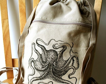 Octopus Backpack Canvas Laptop Bag Gym Bag Screen Printed