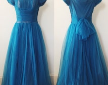 1950s Gown / 50s Chiffon Gown in Dark Teal