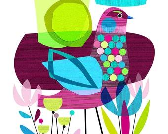 LATE SUMMER, bird, Ellen Giggenbach, print