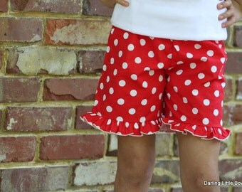 Ruffle Shorts -- Girls polka dot ruffle pants for Summer -- red polka dot -- sizes 6 month through 8