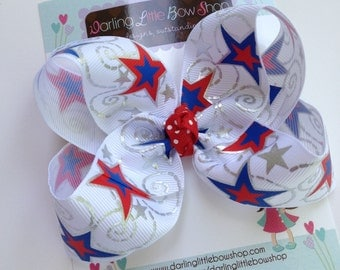 Hair Bow for 4th of July -- red, white and blue stars -- July 4th and Summer -- red, white and blue with headband option