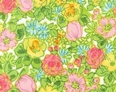 Spring Green Garden Flower Lawn Cotton Fabric Pink and Yellow Wildflower Floral 100% Sewing Cotton Lawn Fabric by the Yard
