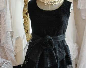 Little black dress, party dress sheer skirt, gypsy chic, tea dress,romantic baby doll