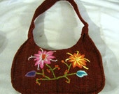 Handwoven 100% rust color wool embroidered pink flower shoulder bag purse toteRS BAG PURSE