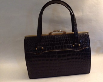 Fabulous Fifties French Faux Croc Handbag With Wonderful Clasp