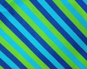 "mid century fabric, stripes, retro, chartreuse, robins egg blue, dark blue, 90"" x 49"", vintage fabric, bright, colorful"