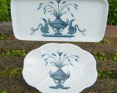 Vintage Porcelaine De Paris Lamballe Soap Dish and Perfume Bottle Trinket Tray Vanity Dresser Accessories