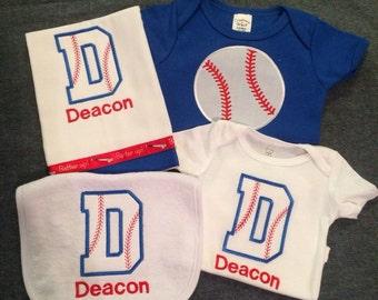 Baby Boys Baseball Onesie, Bib, and Burp Cloth Set.