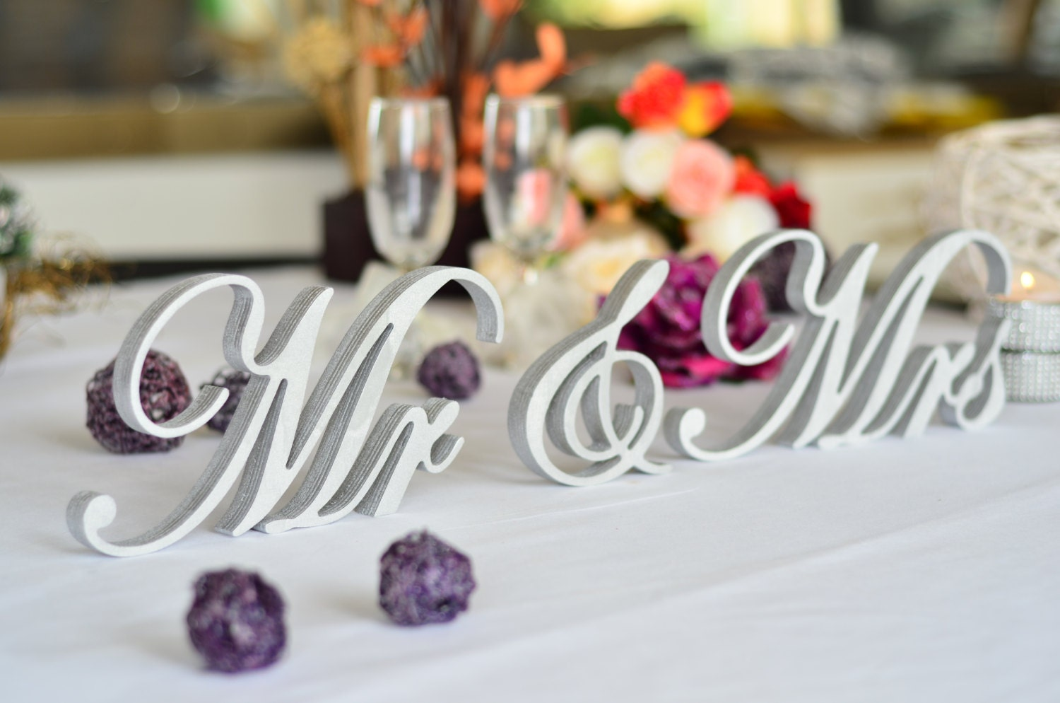 Wedding Table Decorations Silver Mr Mrs Sign Top Table