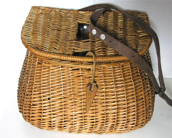 Antique Fishing Equipment : French antique fishing equipment basket