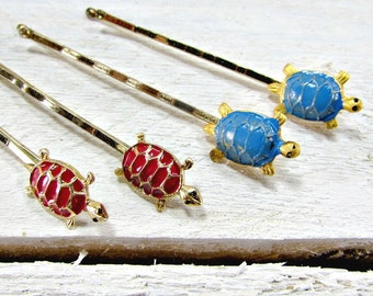 Vintage Turtle Hair Pin / Bobby Pin Set, Decorative Hair Pin, Blue Red Gold Hair Bobby Pins, 1950s Summer Beach Hair Accessories