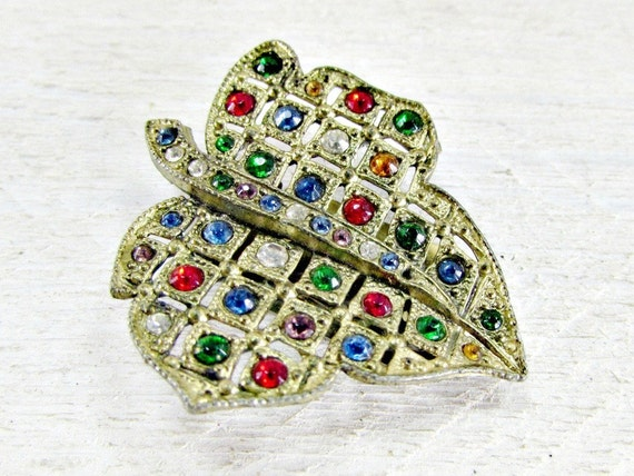 Antique Art Deco Dress Clip, Multi-Color Rhinestone Dress Clip, Gold Leaf Dress Clip, 1930s Great Gatsby Prom Wedding Jewelry, Something Old