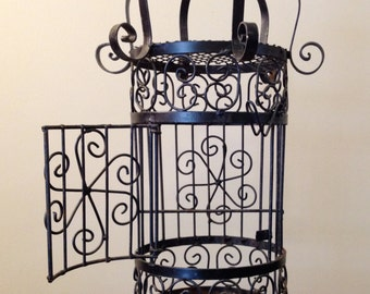 Vintage Black Wrought Iron Hanging or Standing Bird Cage