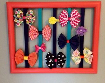 SALE** Coral, Teal and Navy Blue Bow Holder