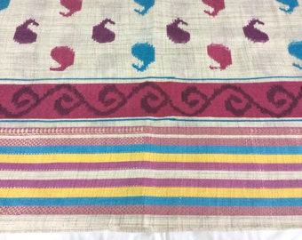 One meter  indian handloom Cotton fabric in white with Paisley motifs with a border