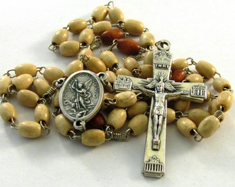 Natural Wood Bead Handmade Catholic Rosary with Four Basilicas Crucifix & St Michael the Archangel Medal