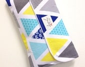 Baby Change Nappy/Diaper wallet clutch 'Grey patterned triangles'. Fantastic babyshower gift.