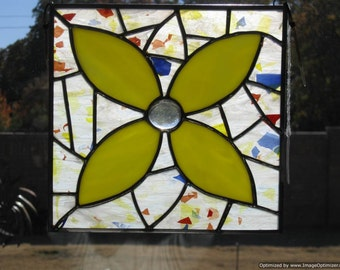Stained Glass Yellow Mosaic Flower Panel