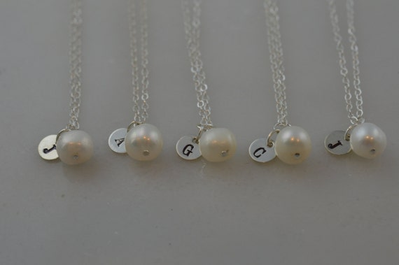 Custom Sterling Silver Pearl Initial Necklace - Freshwater Pearl Bridesmaid Necklace - Set of 5