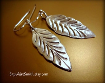 TAKE 28% OFF across the shop! (coupon code THANKYOU) Karen Hill Tribe Long Silver Leaf Earrings, nature-inspired jewelry, artisan silver