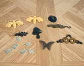 Assorted brass stampings, grab bag, embellishments, antique brass, silver, flag, bees, leaf, lion, snakes, butterfly, dragon, mushroom