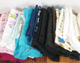 Knit fabric scraps, small to medium scraps, stretch fabric, lot of fabric scraps, scrap assortment, fabric remnants, destash scrap bundle