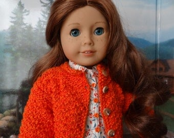 Orange Aran sweater with blouse, skirt, capris and sneakers for American Girl or similar 18 inch doll