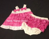 Baby girl pink and white diaper set