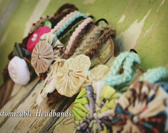 Handmade headband flowers ( yo-yo flowers ONLY ) Wholesale flowers for headbands