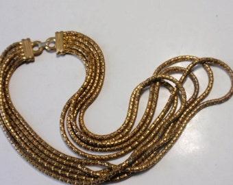Art Deco Brass Snake Chain Necklace / 5 Strands