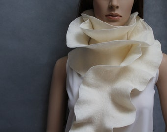 Handmade felted Long ruffle scarf Milky Made to order