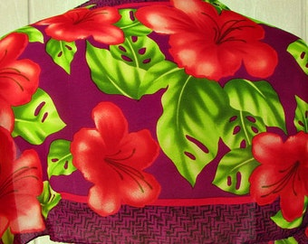 vintage 80s purple red silk scarf hibiscus hawaiian flowers tropical  53 x 10 hand rolled
