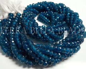 "7"" half strand deep teal blue APATITE faceted rondelle gem stone beads 4.5mm"