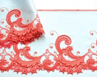 Silver Grey, Orange Satin Trim, Deep Coral Red Satin Trim, Scrolls, Silver Satin, Embroidered Satin Fabric, Lingerie, Professional Costume