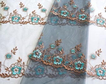 Slate Blue Lace Fabric, Cadet Blue Lace, Dark Cyan Lace, Blue Grey Emnbroidered Tulle, Lace Dress, Lace Curtain, Lace Decor