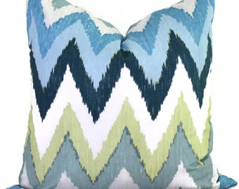 Blue Chevron Pillow Cover, Martyn Bullard Schumacher Adras Ikat Decorative Pillow Cover 18x18, 20x20, 22x22 Euro lumbar pillow, Throw Pillow