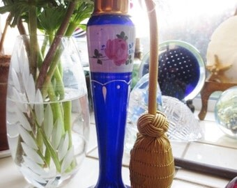 Antique Perfume Atomizer Cobalt Glass Hand Painted Floral Gold Plated Blue White Pink Czech