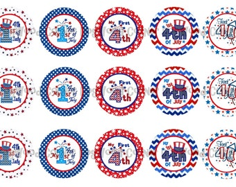 "1"" My First 4th Of July Fourth Fireworks Bottle Cap Image Sheets Party Favors Cupcake Topper Magnet Stickers Printables Instant Download."