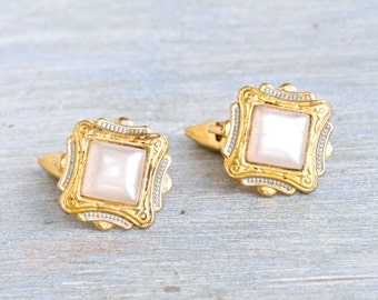 Extremely Kitsch Cuff Links - Vintage Damascene and Faux Mother of Pearl